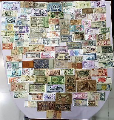 World Banknote collection. 100 Mixed. Many Old.All my collections Different #25