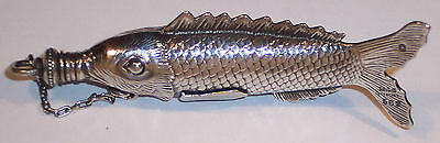 Rare Antique Sterling Silver Gorham Figural Fish Perfume Scent Bottle Chatelaine