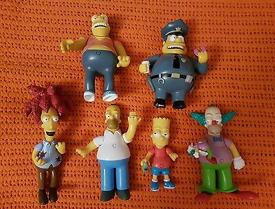 "SIMPSONS TALKING FIGURES JOBLOT x 6 BART KRUSTY BOB HOMER 4.5"" - 7"" TALL MATT GR"