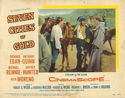 ANTHONY QUINN - RICHARD EGAN Vintage US Lobby Card SEVEN CITIES OF GOLD 1955 C73