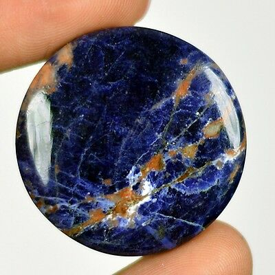 43ct Natural Attractive Blue Color Sodalite Round Cab From Namibia I108