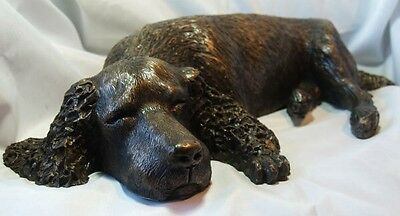 Spaniel (Sleeping) - Cold Cast Bronze Resin Sculpture by John Rattenbury