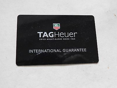Tag Heuer International Guarantee Card Used Collectors Only
