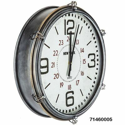 Vintage Inspired Industrial Large Round Wall Clock   Shabby Chic  Country-Chic