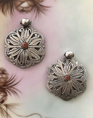 Antique Yemenite Silver & Red Coral Star-Lattice Pendant - 46 mm x 38 mm