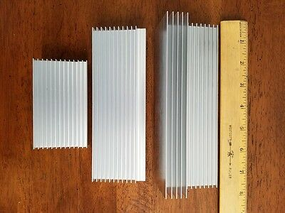 3 Large Industrial Aluminum Heat Sinks with Clips