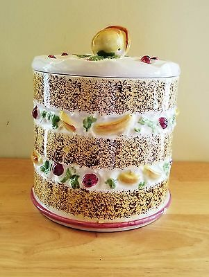 Cookie Jar Fruit Layered Cake Pudding Peach Strawberry Vintage Ceramic