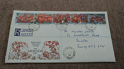 gb 1988 armada fdc reigistered cover with extra charge on reverse