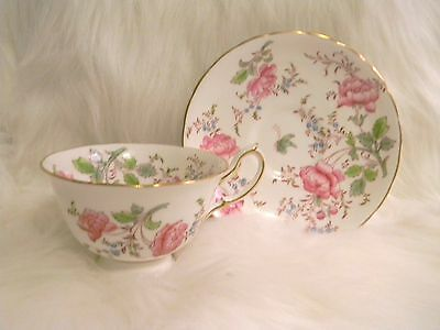 Vintage ROYAL CHELSEA Tea Cup Saucer Butterfly Rose Pink Green Gold 4209 England