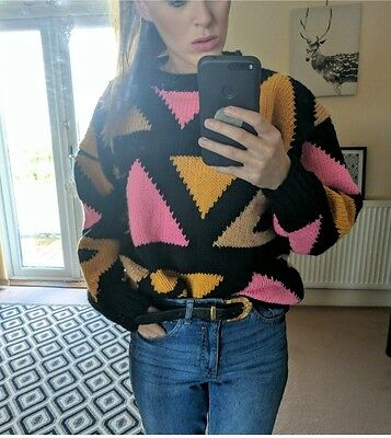 Vintage quirky crazy hand knitted sweater jumper 6/8/10
