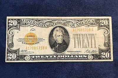 1928 $20 Gold Certificate - Free Shipping USA
