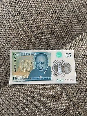 *RARE* New Polymer £5 Note AA08 Serial Number