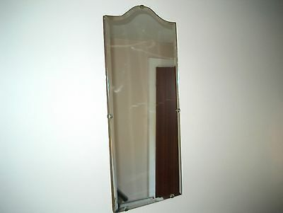 Vintage Art Deco Frameless Bevelled Mirror With Chain.
