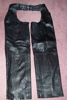 USA Bikers Dream Apparel Leather Motorcycle Chaps Mens Medium 38 Front Pockets