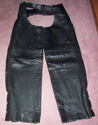 Interstate Leather Motorcycle Chaps Womens Large L Braided Accents