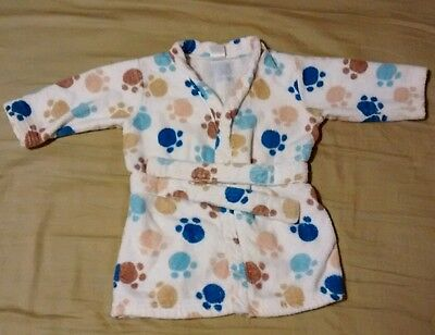 CARTER'S Baby boy Dog Puppy Paw Print Cotton Long Sleeve Robe 0-9 M Blue Brown