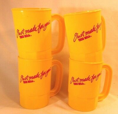 "Vintage TACO BELL 4 Plastic Cups Yellow / Red ""JUST MADE FOR YOU"" EUC"