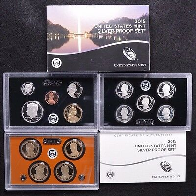 2015 United States 14 Coin Complete Silver Proof Set w Box and COA