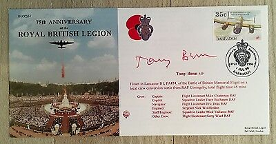 ROYAL BRITISH LEGION 75th ANNIVERSARY FDC COVER SIGNED BY TONY BENN MP