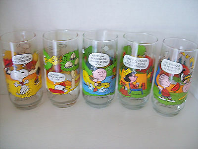 SET of 5 Camp Snoopy McDonald's Collection Peanuts Glasses Tumblers