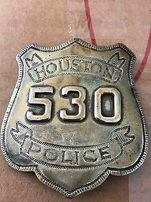 Obsolete Engraved Houston Texas Sterling Silver Breast And Hat Badge Set TX