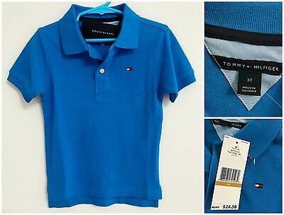 NWT TOMMY HILFIGER Boy's Toddler 3T Blue Short Sleeve Cotton Pique Polo Shirt