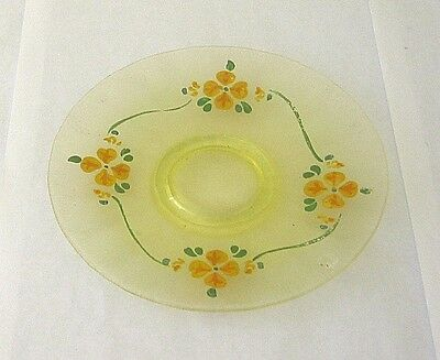 Yellow Stretch Iridescent Glass  SMALL PLATE -  FGC hand paint flowers  6.5in
