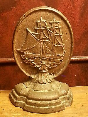 Vintage Doorstop Early 1900s Solid Bronze Cast Galleon / Sailing Ship  Bookend
