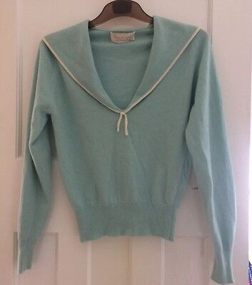 Beautiful Vintage 50s Baby Blue Sailor Cashmere Jumper Size Small