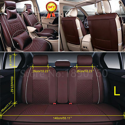 PU Leather Car Seat Cover Front+Rear Cushion 5-Seats W/Pillows Size L All Season