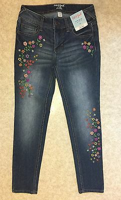 NWT Cat & Jack Girls Sz 10 Super Skinny Stretch Jeans/ Flower Embroidered Fading