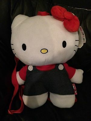 """Sanrio Hello Kitty W Blue Overalls 15"""" Plush Doll Backpack  NEW"""
