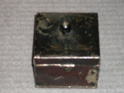 """Antique Tin Spice Box - stenciled """"Cloves"""" on top.  Part of spice carrier set."""