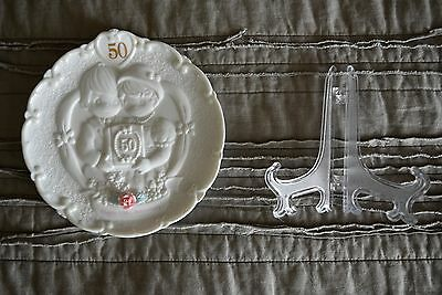 Precious Moments 50th Anniversary Plate & Stand Discontinued Mint Condition