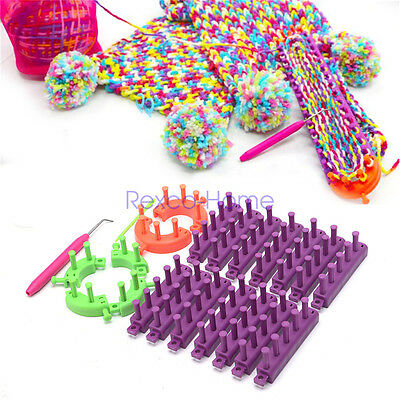 Knitting Loom Set Craft DIY Tool Kit Sock Scarf Hat Sweater Maker Flexible