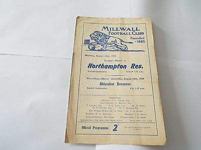 MILLWALL RES. v NORTHAMPTON TOWN RES. 1959/60