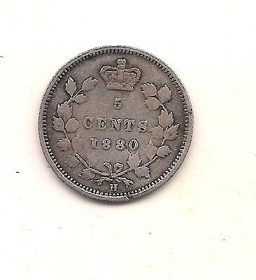 1880-H Canada Silver Five Cent--Very Nice Hair & Crown Details !!