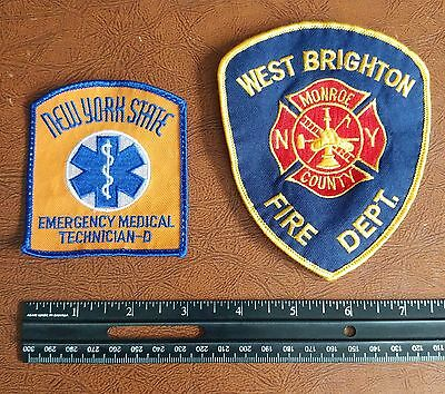 Set of 2 Patches - Fire Dept. & EMT - New York State