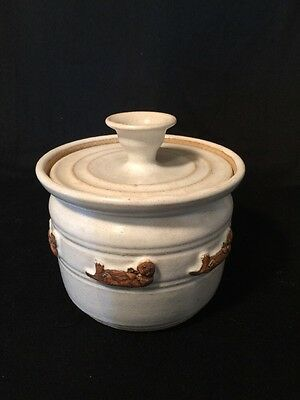 Foxlo Otter Pottery Jar Canister with Lid Signed Minty Perfect!!