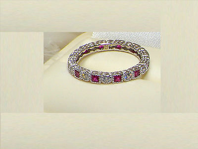 925 Silver Ruby Full Eternity Channel Set Ring,Wedding Band Size 7 / O CLEARANCE