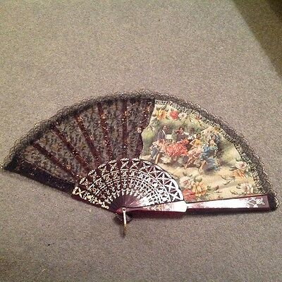Vintage Hand Fan. Material & Plastic Patterned Surround