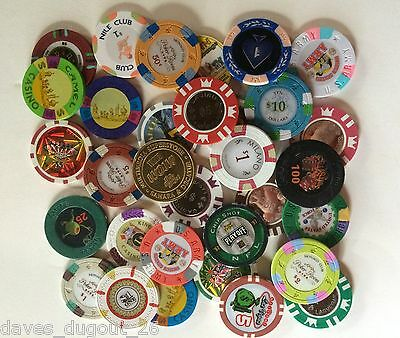 Misc. lot of 32 casino chips & tokens - Fast Shipping