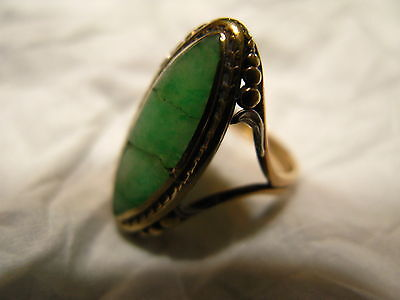 Antique Vintage Chinese Jade 14K Gold Ring Small Size