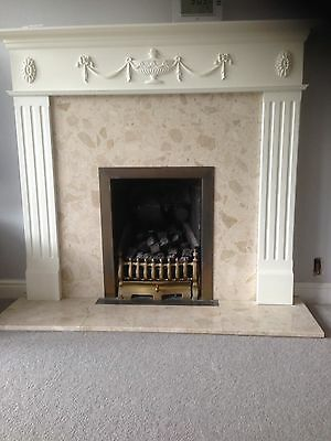 gas fire and Marble Hearth and surround