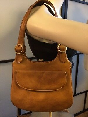 Vintage Myers Made In USA Tan Leather Clasp Lock Shoulder Bag Purse