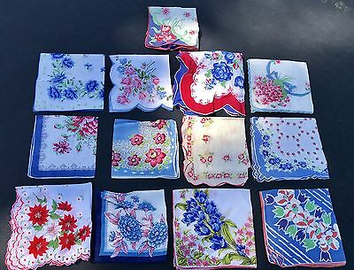 Lot of 13 Beautiful Vintage Red Blue Floral Roses Colorful Handkerchiefs