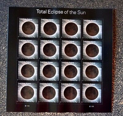 2017USA #5211 Forever - Total Eclipse of the Sun - Sheet of 16 - Mint USPS moon
