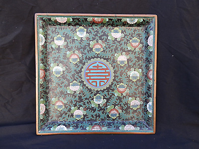 Beautiful Antique Chinese Cloisonne Tray Signed Ming Dynasty