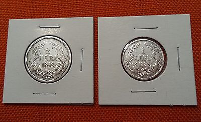 Lot of Silver Coins 1882 Full Set of Coins 2 & 1 Leva Bulgaria Alexander I