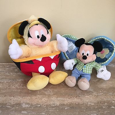 Disney Parks 7 Inch Easter Mickey Mouse in Egg Plush Stuffed with Tags Lot of 2